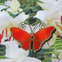 "Tiny Vintage Norway Sterling Butterfly Pin, David-Andersen, Basse-Taille Scarlet Red Enamel Butterfly Brooch Pin, 1 1/4"" x 3/4"""