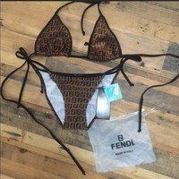 FENDI Women Fashion Halter Beach Bikini Set Swimsuit Swimwear