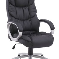 Black Pu Leather High Back Office Chair Executive Task Ergonomic Computer Desk
