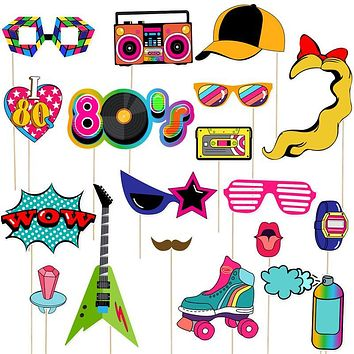 21Pcs 80s Party Photo Booth Props