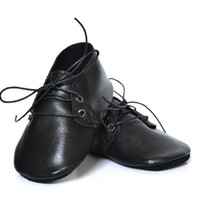Handmade soft sole leather baby shoes / Baby boy oxfords / Black baby boy shoes / Special occasion baby boy shoes