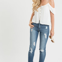 Amy White Cold Shoulder Button Crop Top