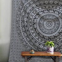 """""""New launched"""" Popular Twin Black and White Hippie Elephant Mandala Tapestry Indian Traditional Beach Throw Wall Art College Dorm Bohemian Wall Hanging Boho Twin Bedspread By Popular Handicrafts"""