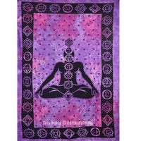 Twin Purple Tie Dye Chakra Tapestry, Wall Hanging Indian Hippie Bedding Bedspread on RoyalFurnish.com