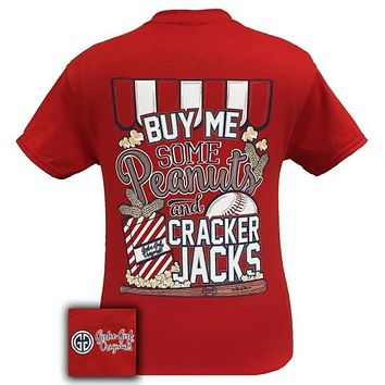 SALE Youth Girlie Girl Originals Baseball Peanuts Cracker Jacks Sports Bright T Shirt