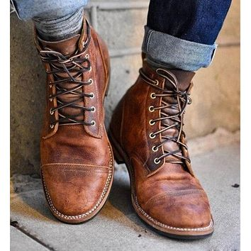 Fashion Men Pu Leather Lace-up Shoes Male Vintage British Military Boots Spring Autumn Casual Shoes Men Motorcycle Boots P20
