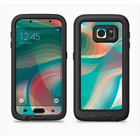 The Vivid Turquoise 3D Wave Pattern Full Body Samsung Galaxy S6 LifeProof Fre Case Skin Kit