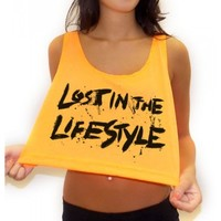 Lost In The Lifestyle Crop Top | Neon Rave Crop Top | EDM Clothing