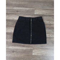 Wild Honey - Run This Town Denim Zip Skirt in Black
