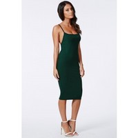 Missguided - Nicole X Low Back Strappy Midi Dress Forest Green