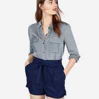 Super High Waisted Pull-on Tie Waist Shorts