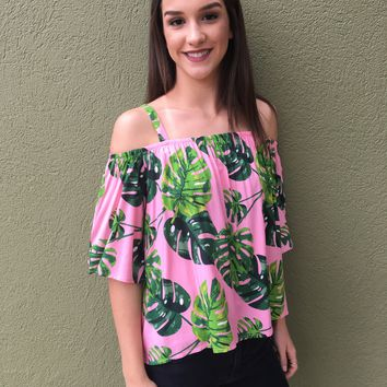 Blushing Palms Cece Flounce Top - Pink