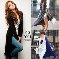 Women Casual V Neck Long Sleeve Jumper Cardigan Knitted Outwear Sweater Top Coat