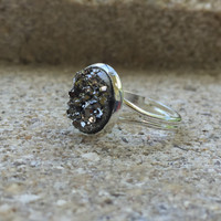 MONSTER SALE Gunmetal and Silver Druzy Ring - Adjustable Ring - Silver Tone Ring -  Boho Jewelry - Jewelry - Gifts For Her