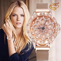 VOHE Luxury Rose Gold Watch Women Special Design 360 Degrees Rotation Diamond Dial Watches Mesh Magnet Starry Sky Ladies Watch
