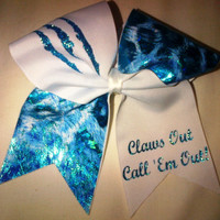 Claws Out Cheer Bow on 3'' White Grosgrain