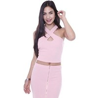T1021 Pink Wrap Around Cut Out Halter Top Junior's Clothing