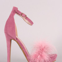Shoe Republic Feather Strap Platform Stiletto Sandal