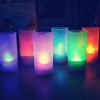 Hot Sale Flameless LED 7 Colors Changing Romantic Flicking Battery Candles Tea Night Light Tealights And Cup For Party/Bedroom