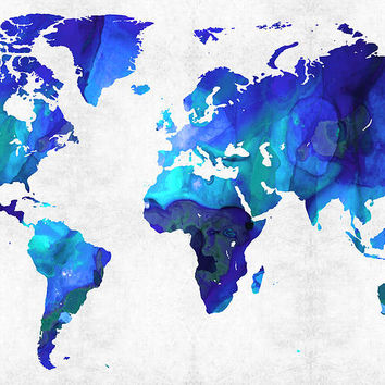 World Map 17 - Blue Art By Sharon Cummings