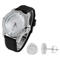 Men's Iced Out Techno Pave Lab Diamonds White Gold Tone Watch & Earrings Combo