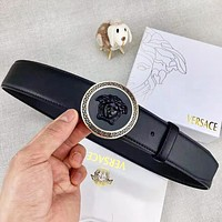Versace New fashion human head buckle leather couple belt Black with box