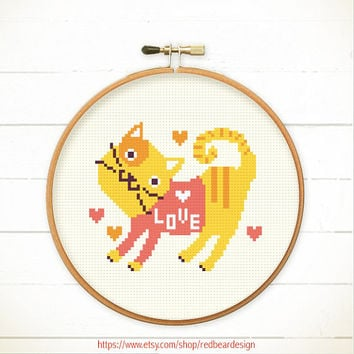 Modern Cross stitch pattern PDF  - Cat in pink shirt - Instant download - Happy Funny ginger cat , Cheerful, Cute kitten with heart & Love