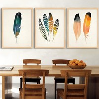 Nordic Feather Canvas Painting Vintage Poster Scandinavian Art Paintings Printable Oil Wall Canvas Pictures Home Decor No Frame