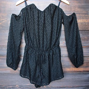 Strapless Cold Shoulder Boho Romper in Black