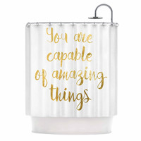 """NL Designs """"Amazing Things"""" Gold White Shower Curtain"""