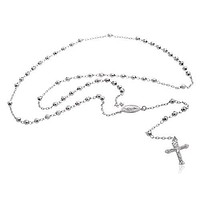 925 Rhodium Plated Jesus Piece Cross & Mother Mary Charm 26 Inch 4mm Beaded D-Cut Rosary Necklace
