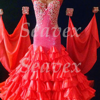 Ballroom Standard Tango Waltz UK8/US6 Dance Dress#B3506  Coral  7 layer skirt