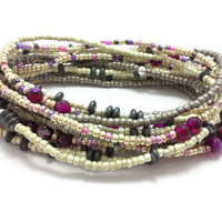 Seed bead wrap stretch bracelets, stacking, beaded, boho anklet, bohemian, stretchy stackable multi strand, grey silver, gold red agate pink