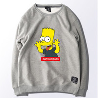 The Simpsons Bart Simpson Mens Womens Grey White Green Black Pink Hooded Sweatshirt Fleece Grimace Funny Sweatshirt Hip Hop Warm Winter Sweater