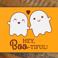 """Funny Halloween Love Card """"Hey Boo-tiful"""" - halloween pun card, cute ghost, card for girlfriend, card for wife, funny card, greeting cards"""