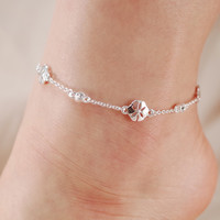 Sand Dollar and Crystal Stone Chain Link Anklet