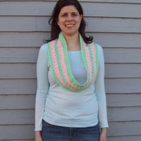 Infinity Scarf Mint Green & Pink
