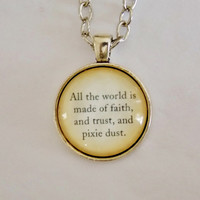 Peter Pan Faith Trust and Pixie Dust Necklace. Peter Pan Necklace. 18 Inch Chain.