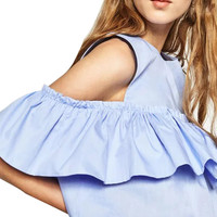 2016 Off Shoulder Blouse Shirt Summer Women Tops Back Button  Round Neck Flounced  blusas y camisas mujer JJWM2878413
