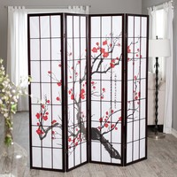 Beautiful Japanese Cherry Blossom Screen Room Divider 4-Panel in Black Finish