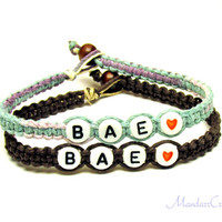 Bae Bracelets for Couples or Best Friends, Dark Brown and Pastel Hemp Jewlery, Made to Order