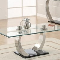 Coffee Table with Glass Top in Silver and Black Metal Base:Amazon:Furniture & Decor