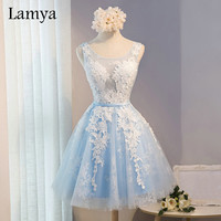 Lamya Women's A Line Short Prom Dresses Evening Party Homecoming Dress With Lace 2016 Sexy Real Photo Cheap Gown EV2704