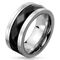 Black Diamond - FINAL SALE Two Toned Stainless Steel Spinner Ring