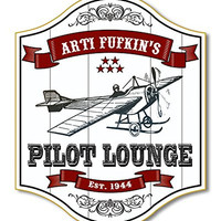 Pilot Lounge Custom Wooden Novelty Sign