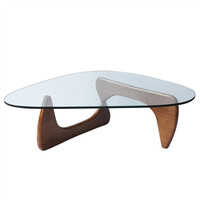 Isamu Noguchi Style Triangle Coffee Table with Wood Base Mid Walnut