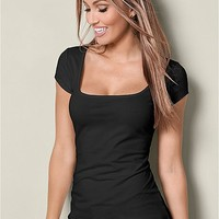 Square Neck Top in Black | VENUS