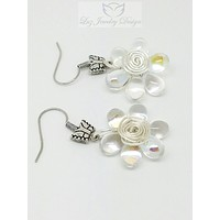 White flower wire wrapping earrings