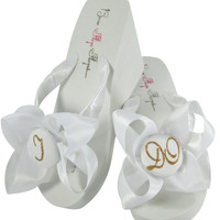 White or Ivory High Wedge Bridal Flip Flops - I DO in antique gold glitter