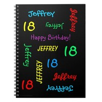 18th Birthday Party Guest Book, Repeat Name Black Notebook